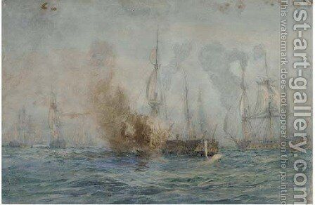 In the melee of battle by (after) William Lionel Wyllie - Reproduction Oil Painting