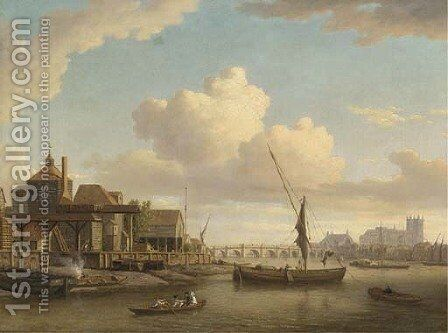 Messrs Peach and Larkin's barge building yard on the Lambeth bank of the Thames, Westminster Abbey beyond by (after) William Marlow - Reproduction Oil Painting