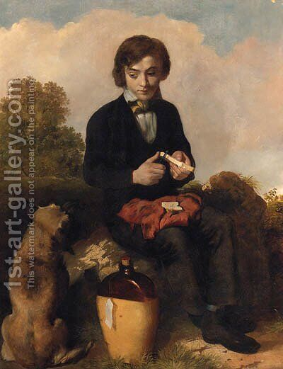 A Slice For You And A Slice For Me by (after) William Mulready - Reproduction Oil Painting