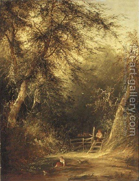 Children playing in a woodland glade by (after) William Mulready - Reproduction Oil Painting
