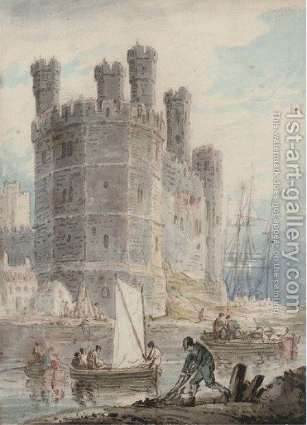 Caernarvon Castle, Wales by (after) William Payne - Reproduction Oil Painting