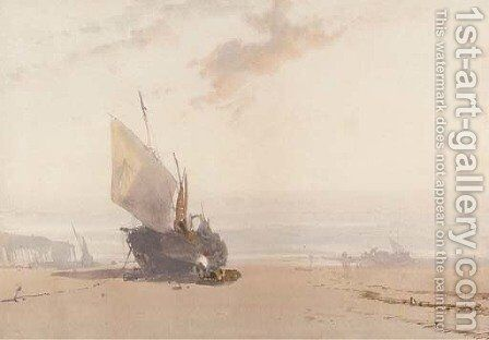 A beached fishing vessel at low tide by (after) William Roxby Beverly - Reproduction Oil Painting