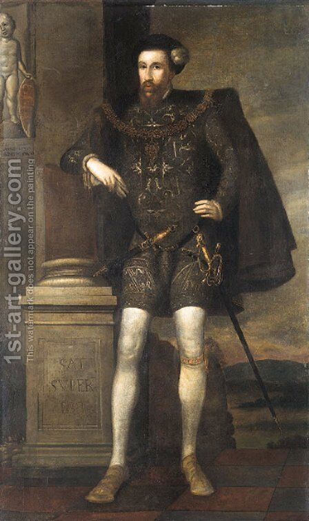 Portrait of Henry Howard, Earl of Surrey, aged 29 by (after) William Scrots - Reproduction Oil Painting