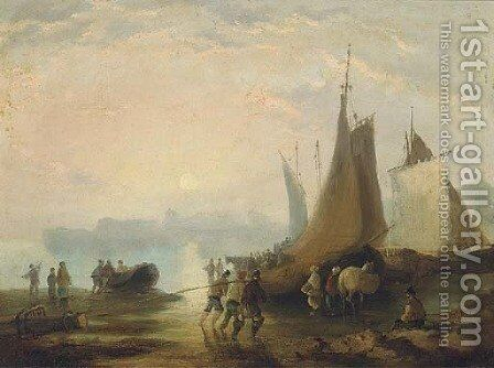 Figures on a beach unloading the catch by (after) William Joseph Shayer - Reproduction Oil Painting
