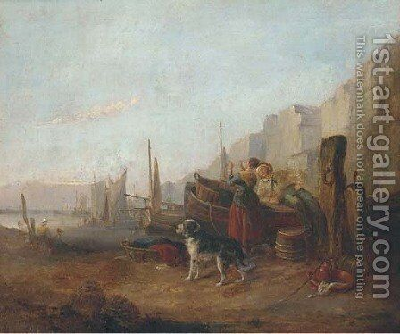 Fisherfolk on a beach by (after) William Joseph Shayer - Reproduction Oil Painting