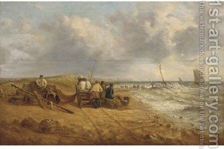 Fishermen on a windy beach by (after) William Joseph Shayer - Reproduction Oil Painting