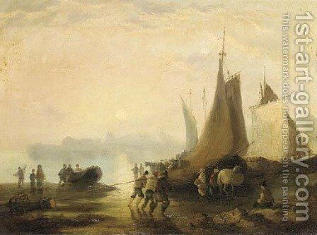 Unloading at dusk by (after) William Joseph Shayer - Reproduction Oil Painting