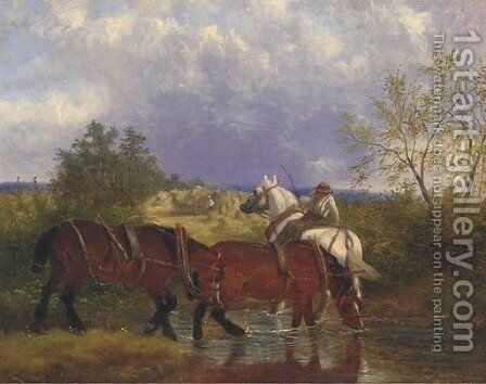 Work horses drinking from a brook by (after) William Joseph Shayer - Reproduction Oil Painting
