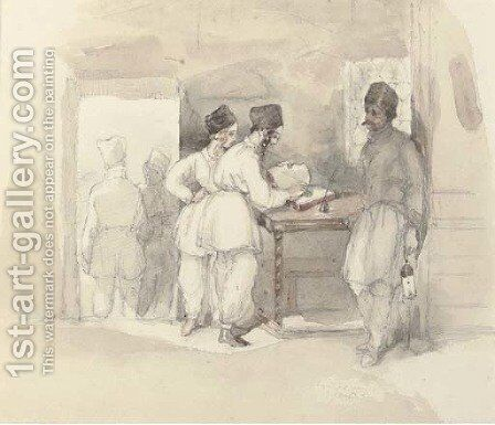Cossacks signing the register by (after) William Simpson - Reproduction Oil Painting