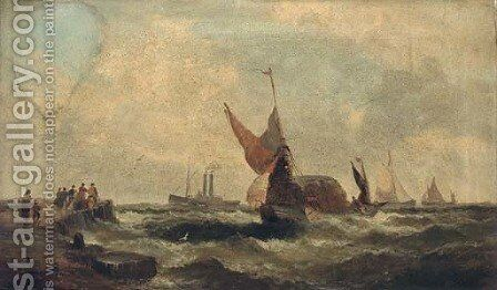 Shipping in a swell; and Shipping coming into a quay by (after) William A. Thornley Or Thornber - Reproduction Oil Painting