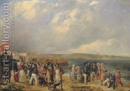 The opening of Granton Harbour, Edinburgh, 29 June 1838, with the Duke of Buccleuch's carriage far left by (after) William Turner Delonde - Reproduction Oil Painting