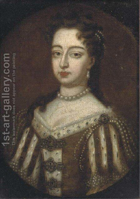 Portrait of Queen Mary II (1662-1694) by (after) William Wissing Or Wissmig - Reproduction Oil Painting