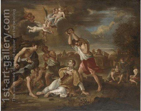 The Martyrdom of Saint Stephen by Cirlce Of Filippo Lauri - Reproduction Oil Painting