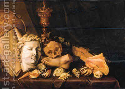 A Vanitas still life with a globe by Cirle Of David Bailly - Reproduction Oil Painting