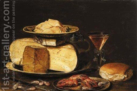 Slices of butter on a Wanli 'kraak' porselein plate, on a cheesestack on a pewter plate, with a jug, a facon-de-Venise wineglass, a bun by Clara Peeters - Reproduction Oil Painting