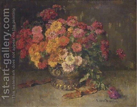 Colourful zinnias in a copper pot by Clara Von Sivers - Reproduction Oil Painting
