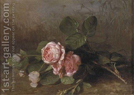 Morning dew on pink roses by Clara Von Sivers - Reproduction Oil Painting