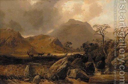 Stags in a Highland landscape by Clarence Roe - Reproduction Oil Painting