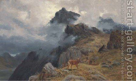 A stag and hines in a Highland landscape by Clarence Roe - Reproduction Oil Painting
