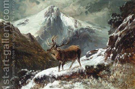 A stag in a midnight winter landscape by Clarence Roe - Reproduction Oil Painting