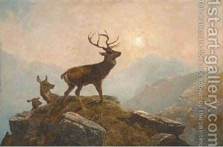 Stags in a Highland landscape 2 by Clarence Roe - Reproduction Oil Painting