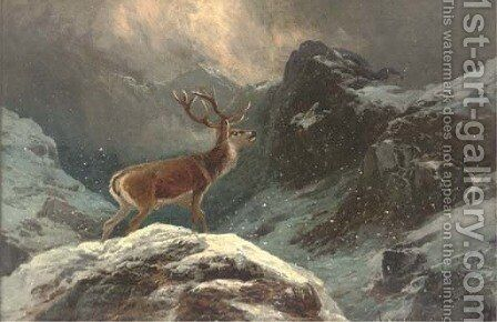 A stag in a highland winter landscape by Clarence Roe - Reproduction Oil Painting