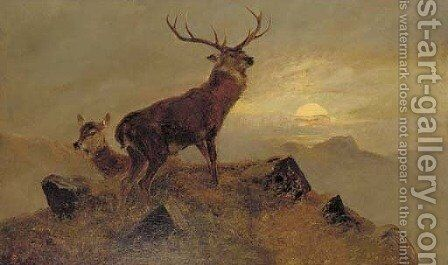Dusk over the Highlands by Clarence Roe - Reproduction Oil Painting