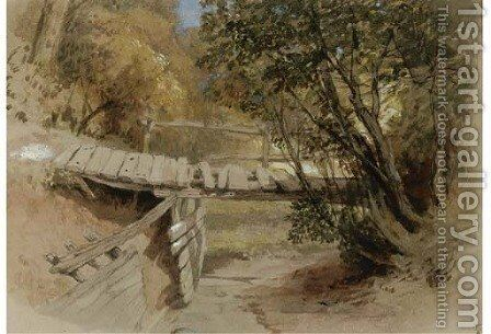 A dilapidated bridge in Hertfordshire by Clarkson Stanfield - Reproduction Oil Painting