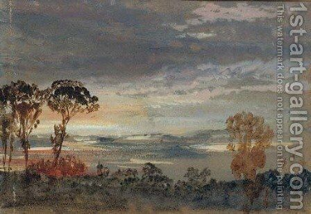 A sunset seen through trees by Clarkson Stanfield - Reproduction Oil Painting