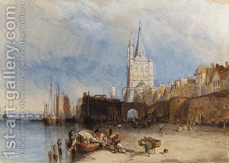 Figures unloading a barge in Cologne Harbour by Clarkson Stanfield - Reproduction Oil Painting