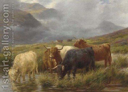Highland cattle watering by Claude Cardon - Reproduction Oil Painting
