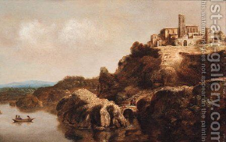 An extensive landscape with a monastery above a river by Claude De Jongh - Reproduction Oil Painting