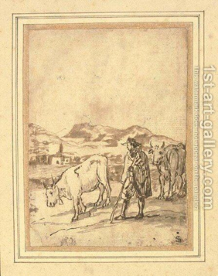 A herdsman and two cows by Claude Lorrain (Gellee) - Reproduction Oil Painting