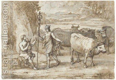 Mercury returning the cattle of Admetus to Apollo by Claude Lorrain (Gellee) - Reproduction Oil Painting