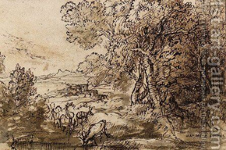 Venus and Adonis in an extensive Landscape with Deer by Claude Lorrain (Gellee) - Reproduction Oil Painting