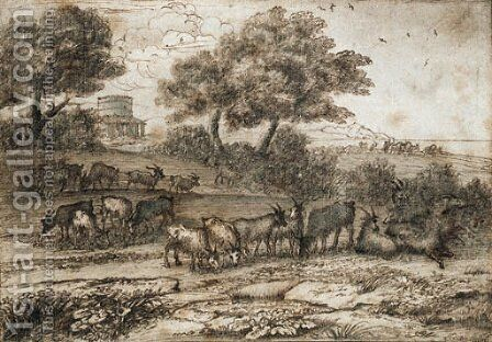 An extensive Mediterranean landscape with a tower and a herd of goats by Claude Lorrain (Gellee) - Reproduction Oil Painting