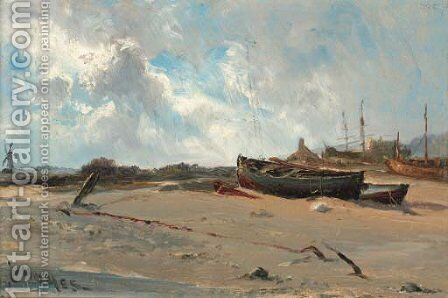 Dutch fishing boats by Claude Hayes - Reproduction Oil Painting