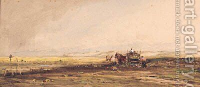 Figures following Horses and a Cart gathering a Crop by Claude Hayes - Reproduction Oil Painting