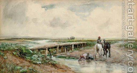 Farmers watering their carthorses by Claude Hayes - Reproduction Oil Painting