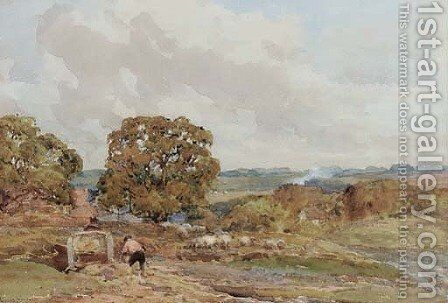 Figures loading a cart in a landscape by Claude Hayes - Reproduction Oil Painting