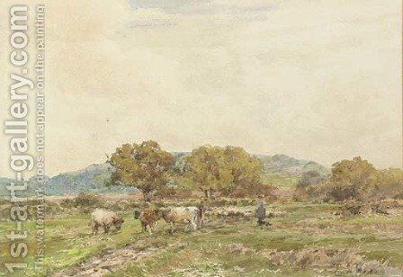 Rounding up the herd by Claude Hayes - Reproduction Oil Painting