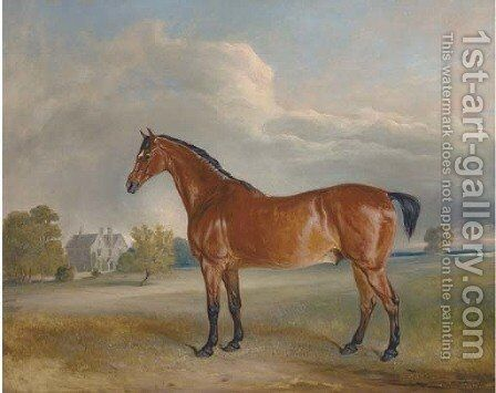 A bay hunter in the park of a country house by Claude L. Ferneley - Reproduction Oil Painting
