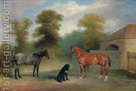 A chestnut hunter with a roan pony and dog before a stable by Claude L. Ferneley - Reproduction Oil Painting