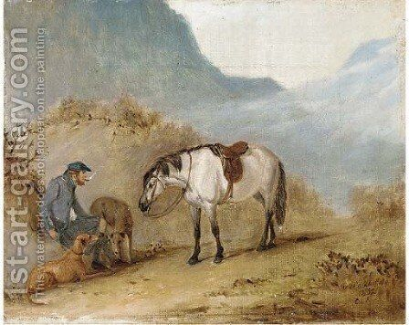 A rest on the pass by Claude L. Ferneley - Reproduction Oil Painting