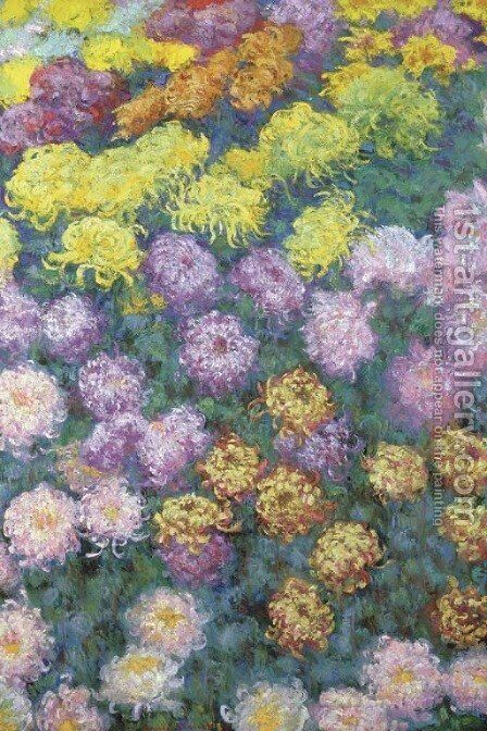 Massif de chrysanthemes by Claude Oscar Monet - Reproduction Oil Painting