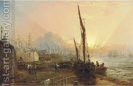 Looking down the Thames from the Blackwall landing stage by Claude T. Stanfield Moore - Reproduction Oil Painting