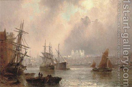 Shipping on the Thames before the Tower of London by Claude T. Stanfield Moore - Reproduction Oil Painting