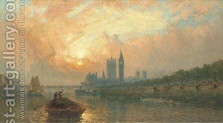 The Oxford and Cambridge Boat Race at Westminster by Claude T. Stanfield Moore - Reproduction Oil Painting