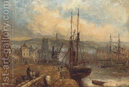 A view of Ramsay Harbour, with the Albert Tower beyond by Claude T. Stanfield Moore - Reproduction Oil Painting