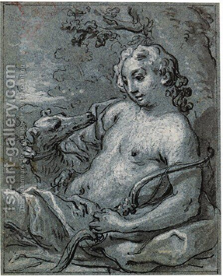 Adonis resting with his dog by Claude-Guy Halle - Reproduction Oil Painting